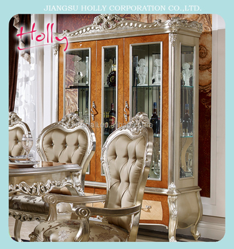 DINING WINE CABINET Classic antique solid wood diningroom set luxury dining chair buffet wine cabinet no MOQ