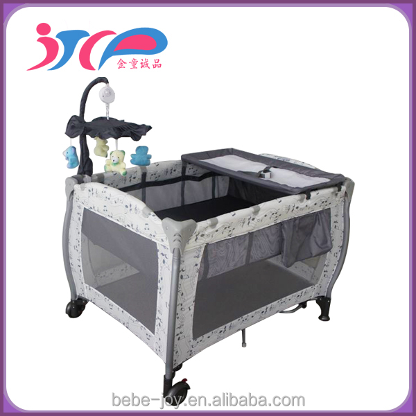 2015 New aluminium baby folding cot bed portable travel cot baby crib baby playpen with En certificate