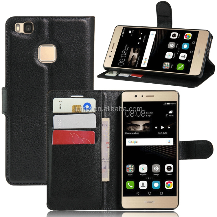 Lichee Pattern Preminum Leather Stand Wallet Mobile Case For Huawei P9 lite