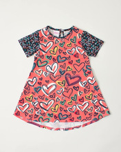 retra vintage style kid clothes pink heart pattern dresses for girls of 10 years old