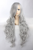 Hot sale high temperature fiber 90cm silver grey mix black long curly hair cosplay wig