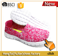 New sport style handmade leastic woven shoes for women best selling brand sports shoes