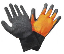 orange color industrial latex rubber big hands gloves