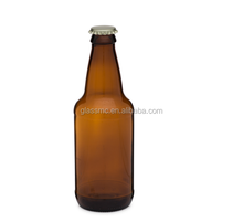 Amber brown 12oz 350ml glass heritage beer glass bottle with crown cap