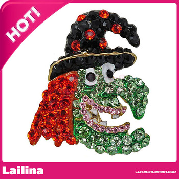 Hot Sale Colorful Rhinestone Halloween Witch Brooch In Gold Plated