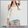 New Arrival Summer Lady Vacation Style White Elegant White Crochet Bell Sleeve Cold Shoulder Sexy Backless Beach Tops