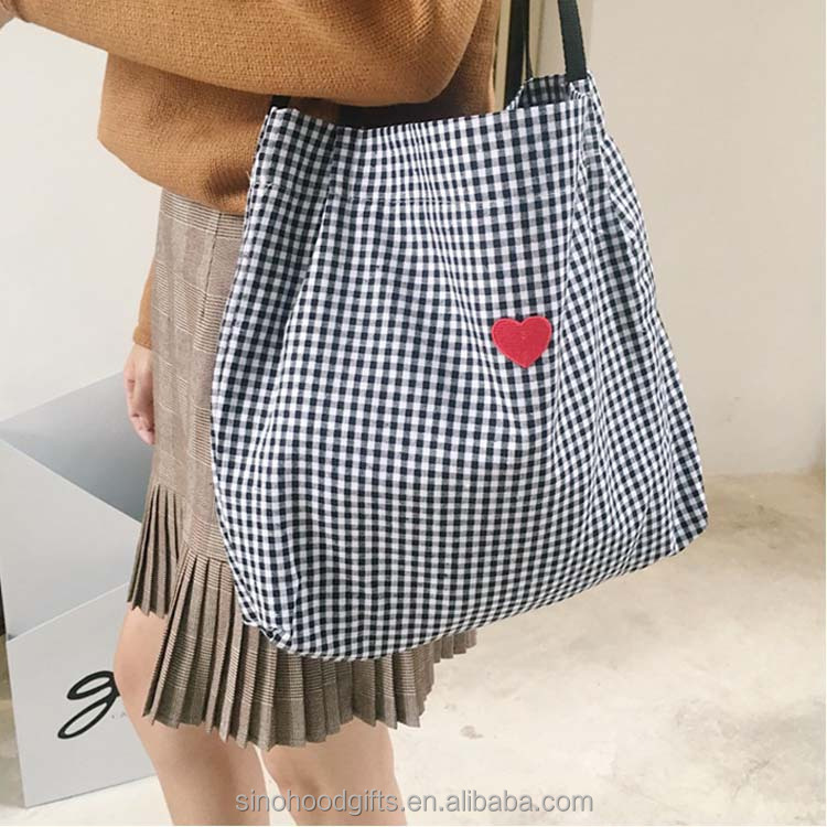 <strong>Eco</strong> -friendly Square Pattern Embroidery Cotton Canvas Tote bag With Braid Handle For Promotion
