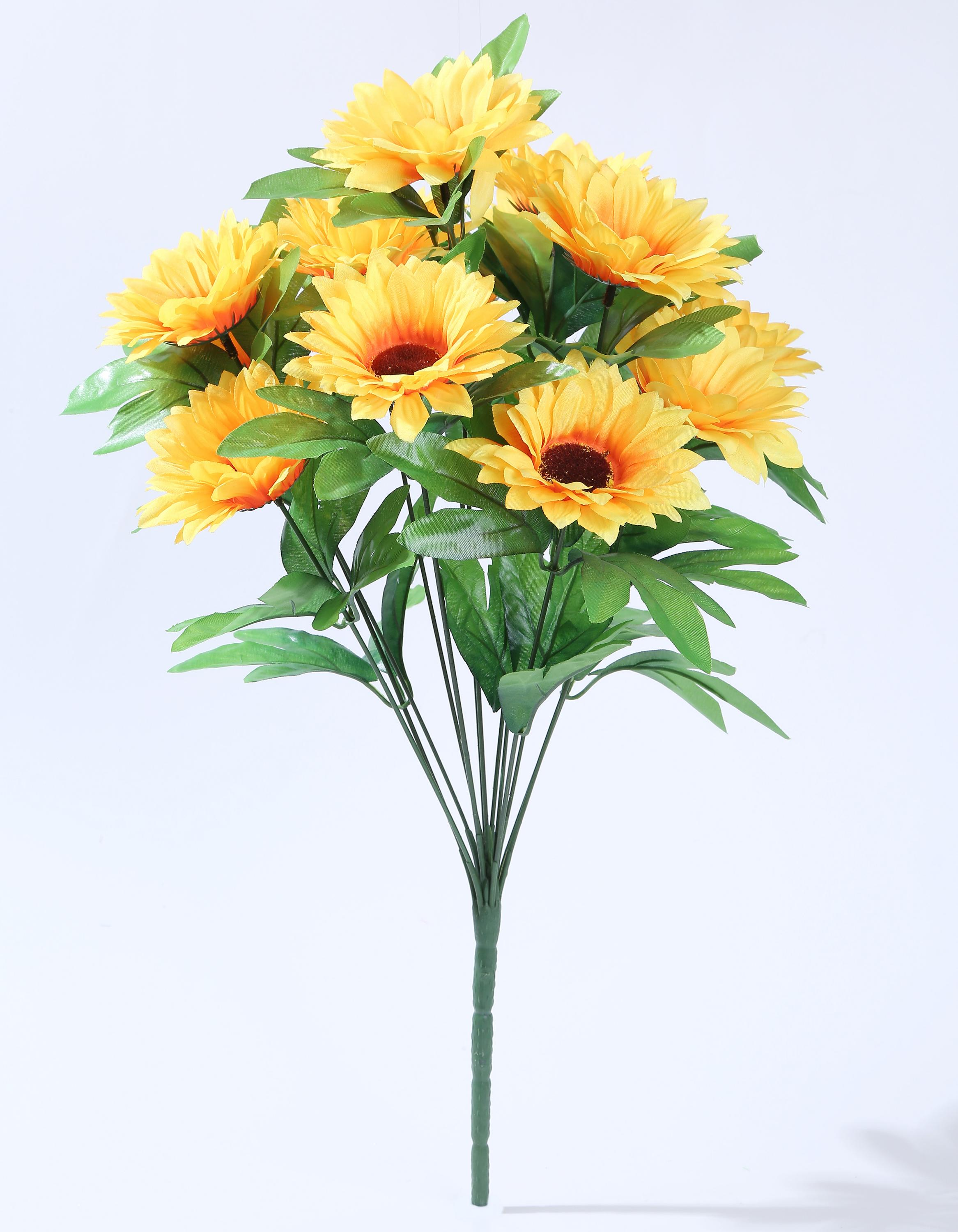 Yiwu Tonsure 13 heads artificial sunflower bush for sale YPC69-23