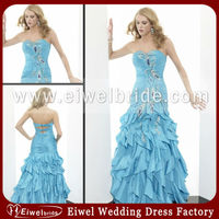 1372 Baby Blue Many Layers Imitated Silk Evening Sequence Dresses