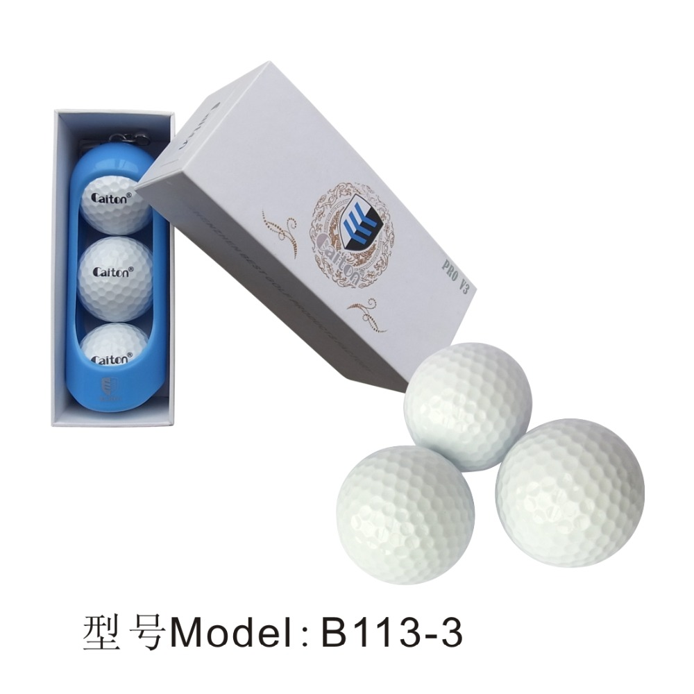 Manufacturer custom white polyster+surlyn three piece golf tournament ball in gift box B113