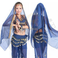 BestDance sexy blue belly dance silk veil arabic chiffon veils blue wedding veil OEM