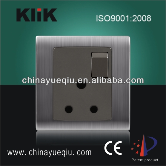 Stainless Steel 3 Pin UK wall sockets 250V 15A