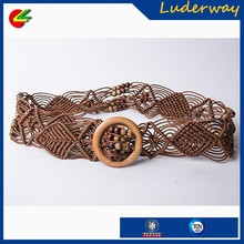 Latest women fashion style braided beaded wood buckle belt