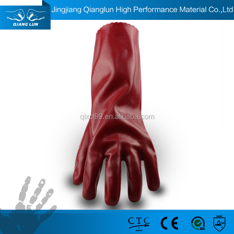 QL PVC coated Oil resistant heavy duty chemical resistant gloves
