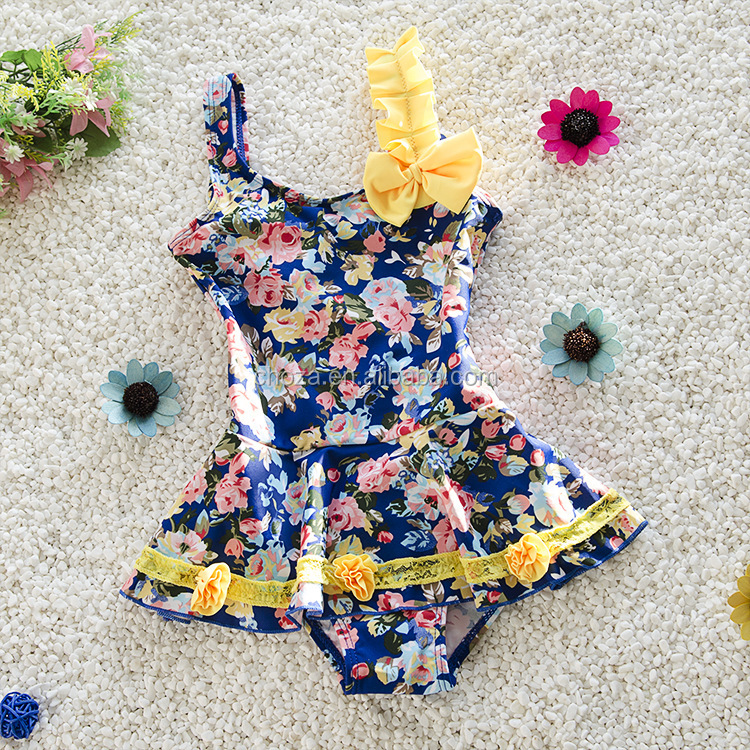 C23104B child girl flower printed summer swimwears kids swimsuit models