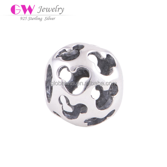 Cut-Out Mickey Mouse Sterling Silver Bead Wholesale European Silver Charm For Bracelet DIY Jewelry
