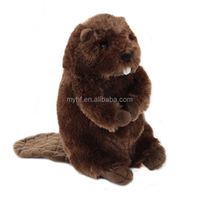 2018 new design high quality 100% handmade with PV plush 10 inch stand beaver plush toy