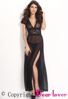 Black Mesh and Lace V Neck Plump Women Sexy Mature Plus Size Lingerie Gown