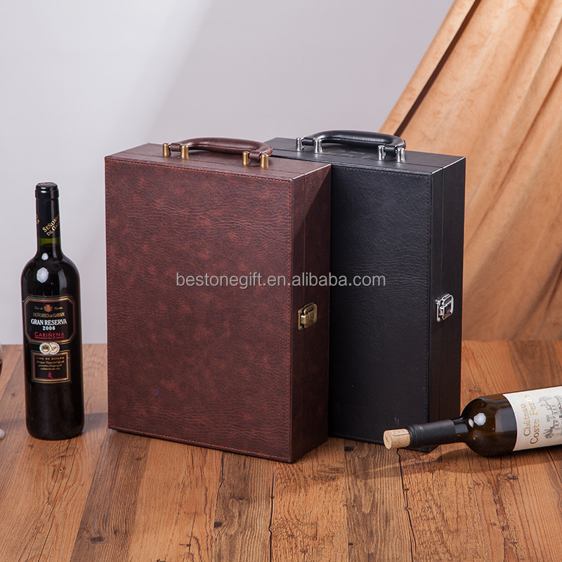 Large Portable PU Leather Wine Packaging Box/Wine Case