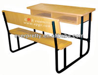 University school furniture/high quality hot sale attached double desk and chair for college students