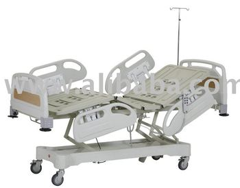 AD-1384 PATIENT BED WITH THREE ELECTRICAL MOTOR, PLASTIC SIDE RAILS AND HEAD-FOOT PARTS