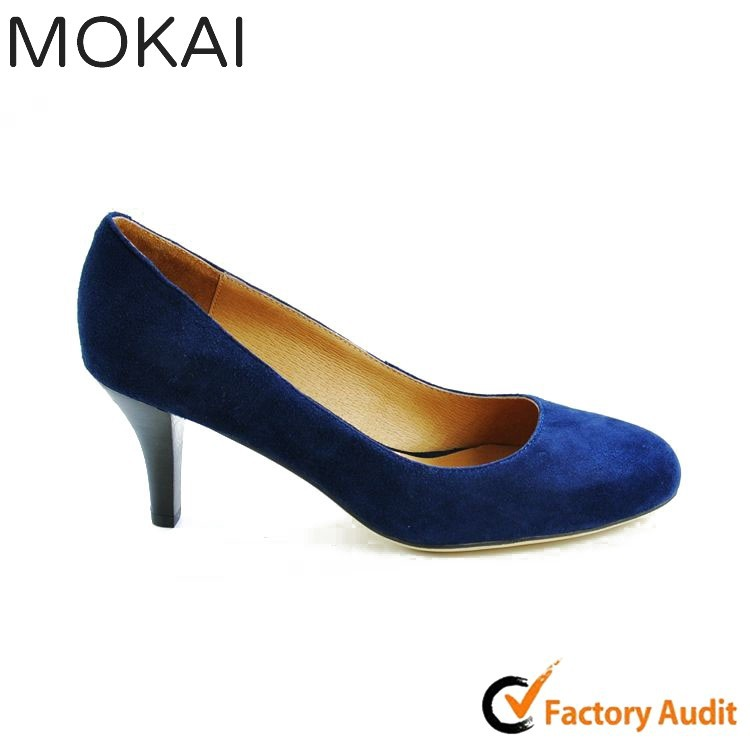 MK035-1 BLUE all season round toe fancy ladies low heel shoes china customized shoes supplier