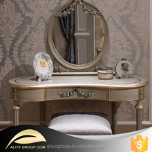 DS7375-Bisini Luxury Furniture, French Classical Antique Wooden Dressing Table and mirror