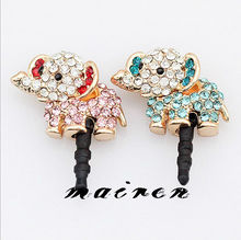 Free Shipping Rhinestone Elephant Anti Dust Plug (MO-011)