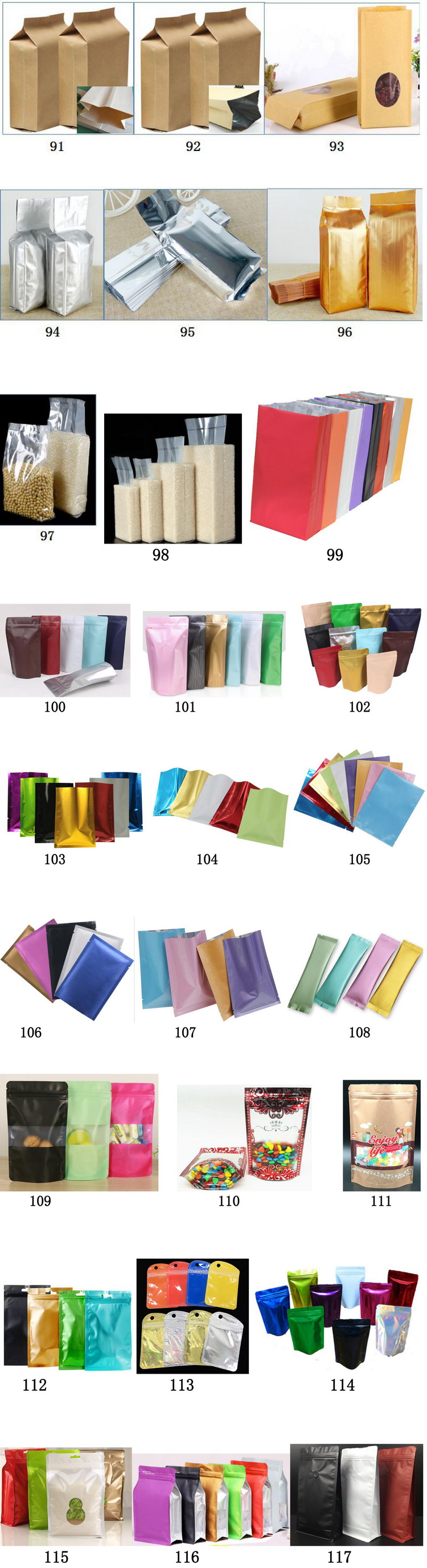 63#64#65#66#69#71#72#  Food Grade White Kraft Paper Stand Up Pouches Ziplock Snack Packaging Bag