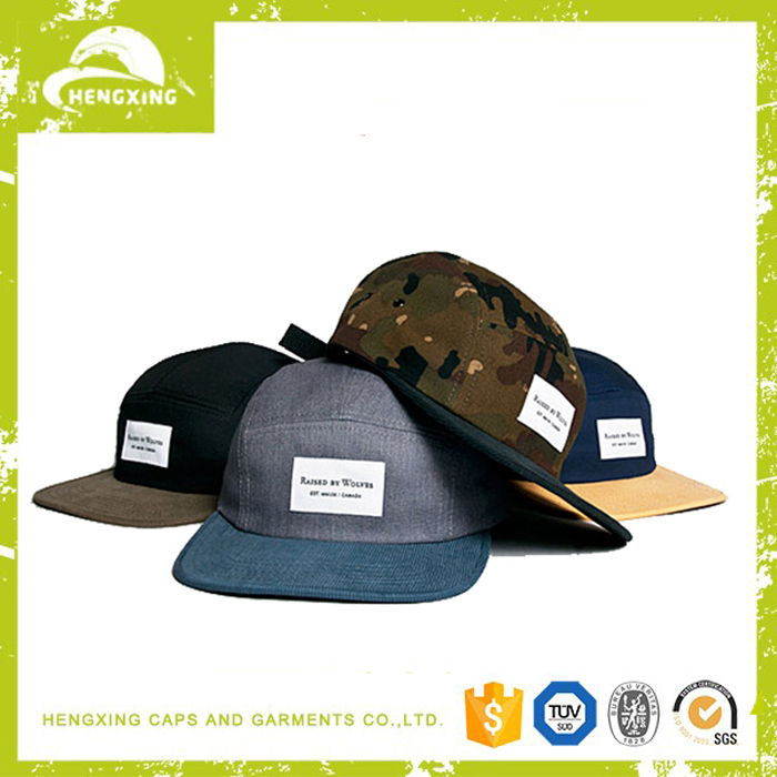 Leather strap flat brim custom 5 panel hat and cap