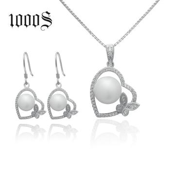 Sterling Silver Pearl Jewelry Set In Heart Shape, Fashion Freshwatet Pearl Necklace  Earring Set, Wedding Jewelry Set For Women