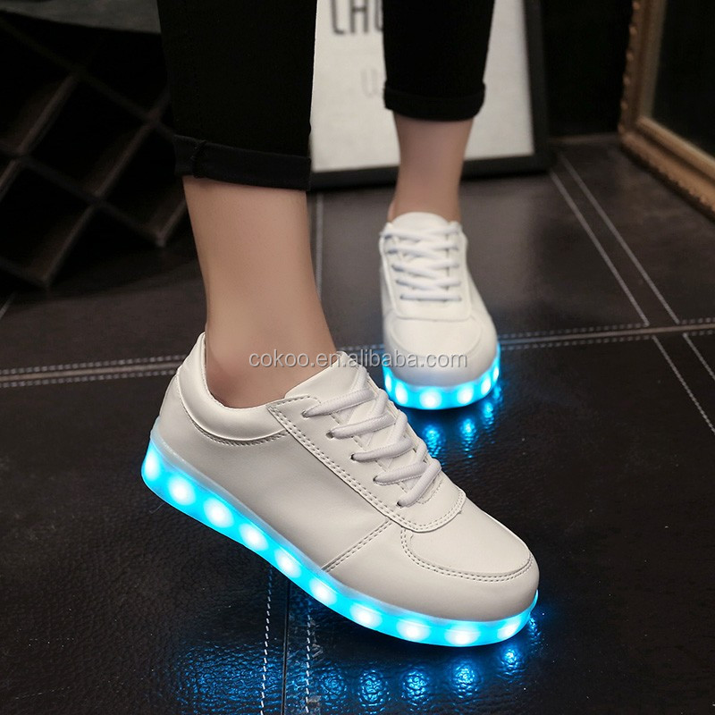 2016 New Led Shoes For Adults Fashion Unisex Pu Rubber Lace-up With Women And Men Casual Shoes Plus Size