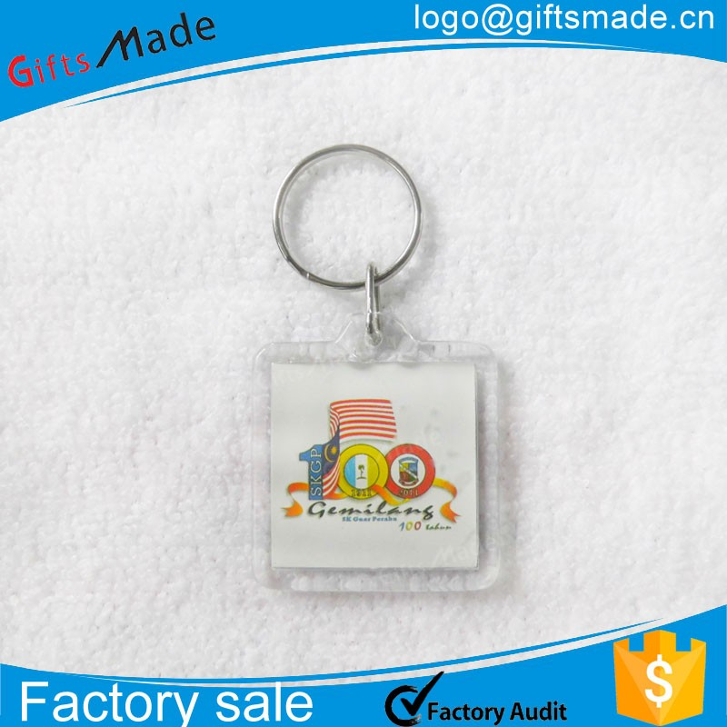 New Customized Make Plastic clear Acrylic Photo Keychain