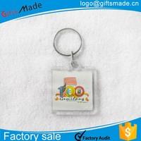 New Customized Make Plastic clear Acrylic Photo Keychain