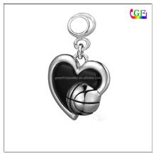 Dangle bead Zinc alloy Love Basketball in my heart drop charm