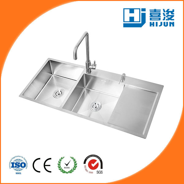 304 handmade double bowl kitchen sink with drainboard
