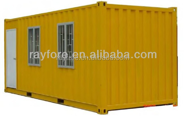 simple container house with floor windows and decoration