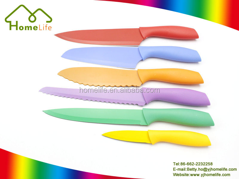 6 Pcs Plastic Handle Colorful Knife Food Safe Standard Non Stick kitchen Knife Set