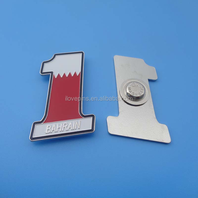 High Quality Number One Bahrain Flag Metal Magnetic Lapel Pin Badge