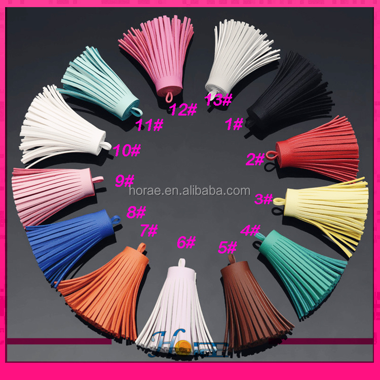 cheap fringe tassel <strong>pendants</strong> for jewelry making PU leather tassel <strong>pendant</strong> for keychain