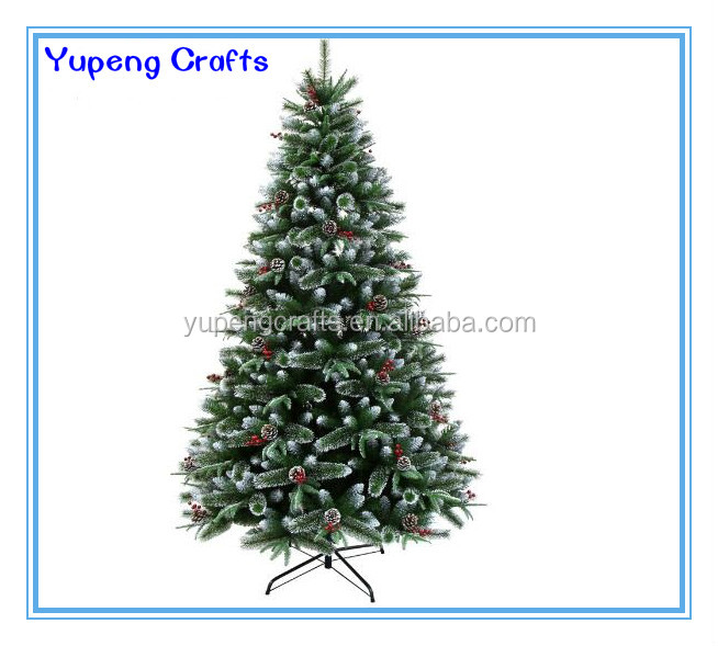 6FT Snow PVC Christmas Trees Hot Sell Bendable Artificial Christmas Tree with pine cones