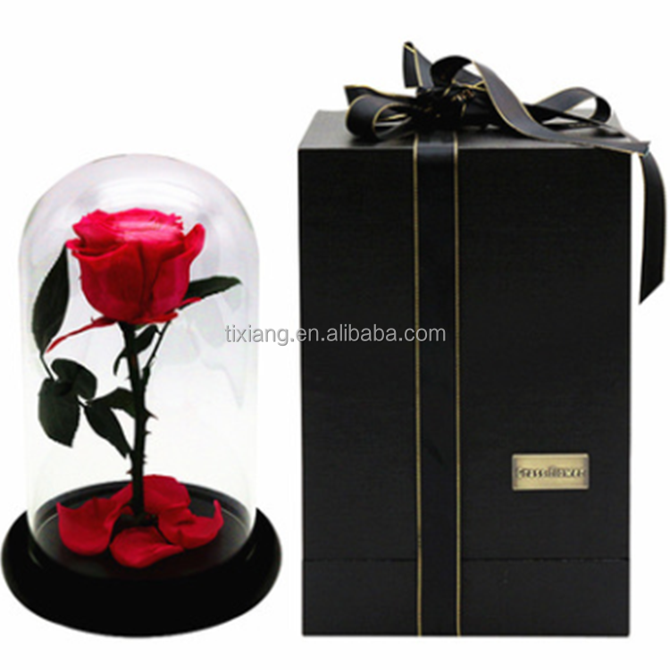 Valentines day occasion and Decorative Flowers&wreath type preserved rose flower in glass