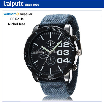 Alibaba Express CE RoHs Relojes, Quality Fabric Convas Band Quartz Watches Men, Water Resistant Mens Watch Sport Wrist Watch