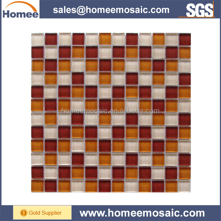 New products on china market small square glitter crystal marble and glass mosaic tile