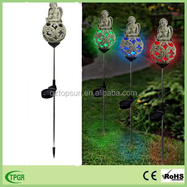 China garden supplier best selling resin angel statue religious solar light