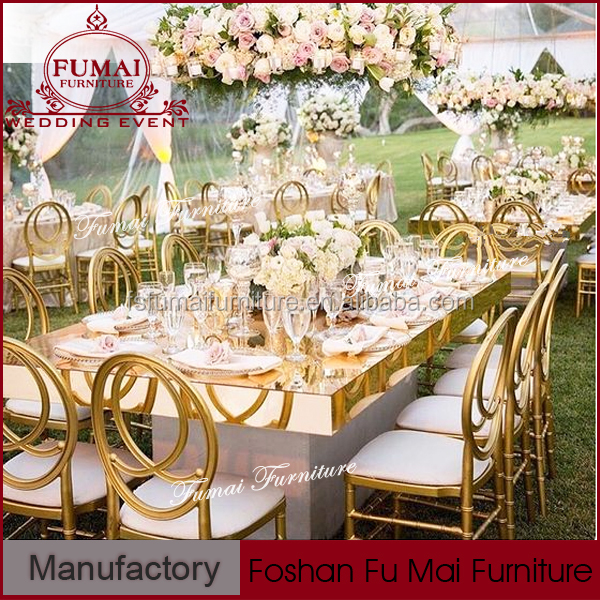 wedding dining table with metal frame /mirrored furniture wholesale