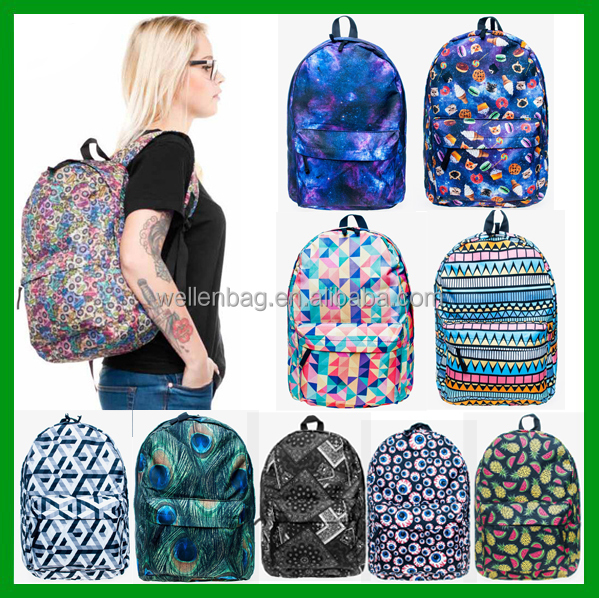Hot Sale Fashion Unisex Canvas Teenager Book Campus Travel Backpack 3D Digital Printing School Bag Wholesale