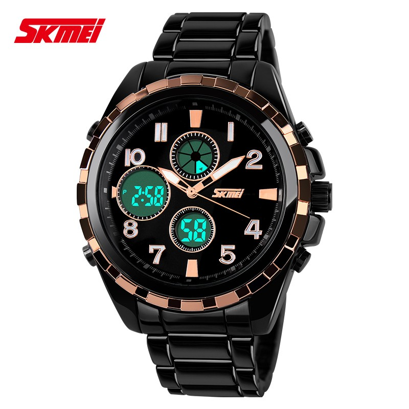 skmei 1021 luxury dual time watch digital led japan analog clock military zinc alloy strap men 30m waterproof sports dive watch