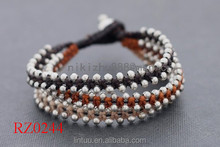 2016 lucky beads lady's black string knot cord bracelet Brown Stud Brass Wrap beaded Bracelet with bell