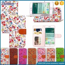Free sample phone cover beautiful flower smart phone wallet cover for iphone 7 plus